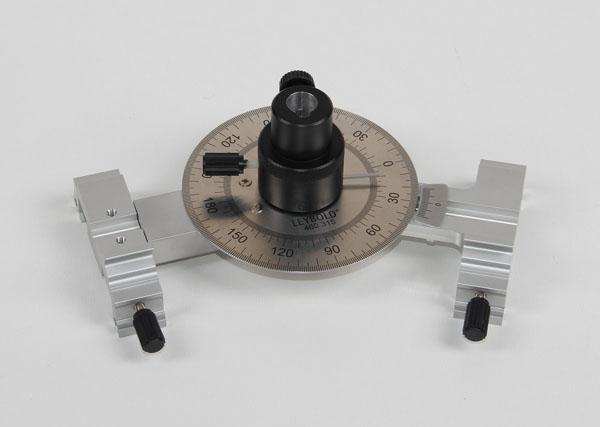 Charnière rotative avec échelle de lecture et colonne de fixation