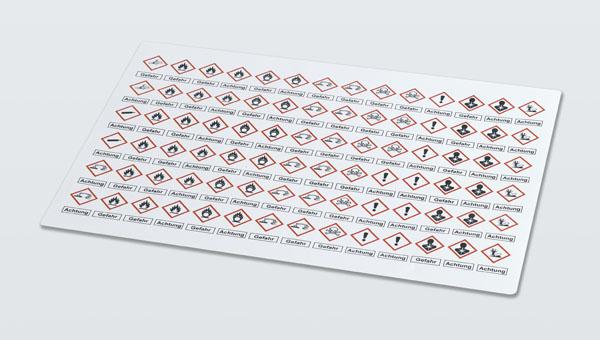 Planche d'étiquettes avec mentions d'avertissement selon le SGH