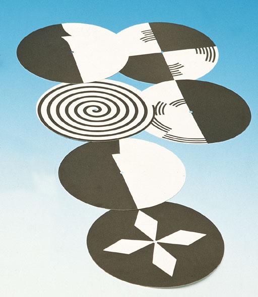 Disques avec motifs en noir et blanc, jeu de 6