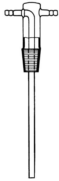 Tête de flacon laveur en verre avec tige droite
