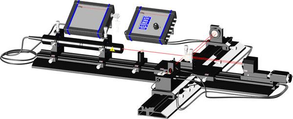 Interféromètre laser de Michelson avec des bandes mètre et le déplacement motorisé